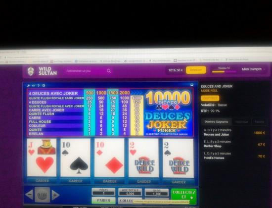 1000€ de gain pour 50cts joué 4 deuces avec joker