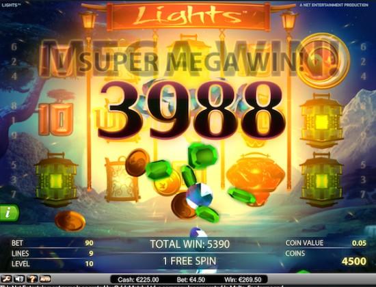 1 spin à 269€ sur Lights !!