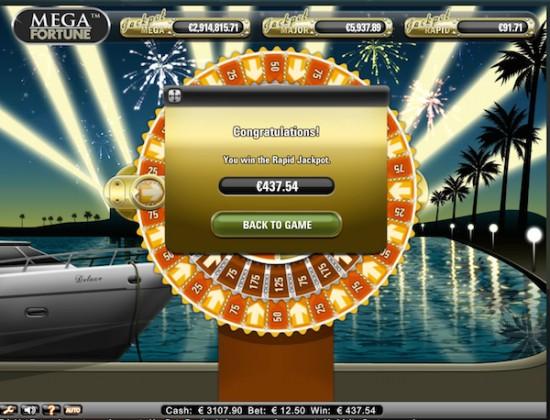 Jackpot Rapid sur Mega Fortune !