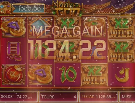 Jackpot 1124 euros avec une mise de 0.88 centimes