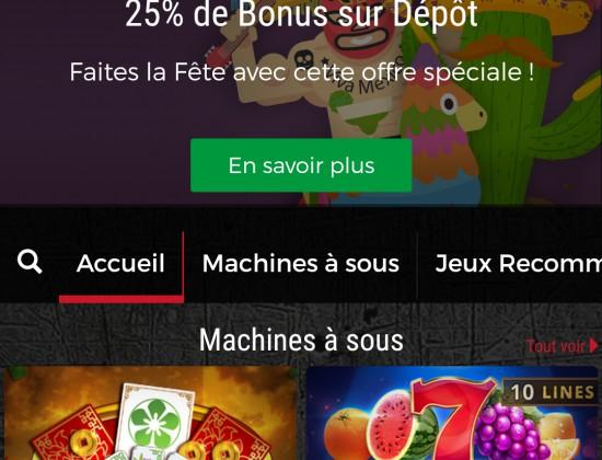 Un bonus de 25 euros suite à un dépôt. .résultat ...2200 euros de gain sur différentes machines ;)))
