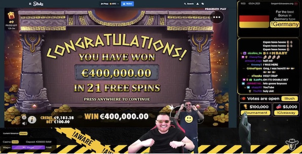 Record du monde de gains casino en streaming avec 400,000€ !