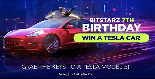 Pour ses 7 ans, Bitstarz offre une Tesla Model 3 à l'un de ses joueurs