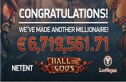 Jackpot mobile Hall of Gods de 6,7€ millions