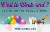 Comme tous les week-ends, bonus de 50% jusqu'à 100 euros sur Monsieur Vegas
