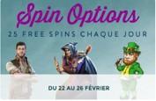 Spin Options - Une semaine de free spins chez Monsieur Vegas du 22 au 26 février